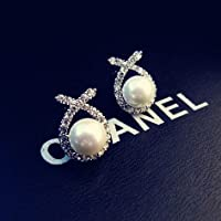 usongs 925 and star big elegant inlaid pearl earrings diamond earrings bride wedding woman with hypoallergenic silver