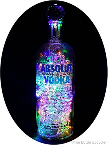 Upcycled Absolut Vodka Mood Therapy Liquor Bottle Light w/100 Bright Multi-Color LED's Topped Off with an Asfour 30% Leaded Clear Crystal Prism Ball