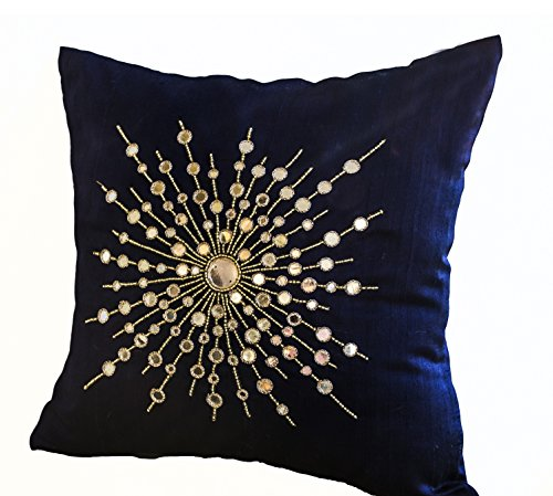Amore Beaute Handcrafted Premium Navy Blue Silk Pillow Cover with Intricate Mirror Embroidery - Pure Silk Throw Pillow Covers (18