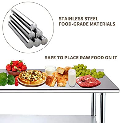 Nurxiovo NSF Work Table Kitchen Prep Workbench Stainless 24 x 48 Commercial Prep Table for Shop Home Industrial Restaurant Food Preparation