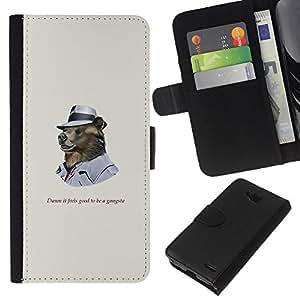 YiPhone /// Tirón de la caja Cartera de cuero con ranuras para tarjetas - Funncy oso grizzly en Hat gangsters - LG OPTIMUS L90