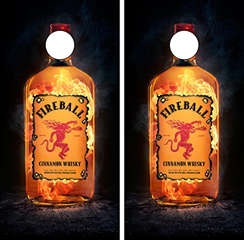 C282 Fireball Cornhole WRAP Wraps Laminated Board Boards Decal Set Decals Vinyl Sticker Stickers Bean Bag Game Vinyl Graphic Tint Image