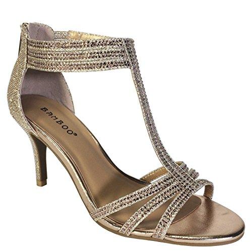 BAMBOO Women's Mid Heel T-Strap Dress Heel Sandal, Gold, 7.0 B (M) US (Womens Sexy Evening Shoes)