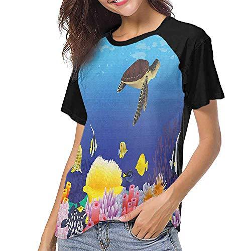 Ocean,Women's Regular Top Sleeve S-XXL(This is for Size Extra Extra Large) Modern Cartoon Deep Sea Nautical Navy Aquarium Fish Turtle Rocks Moss Artwork Pr,Crew Neck Short Shirts