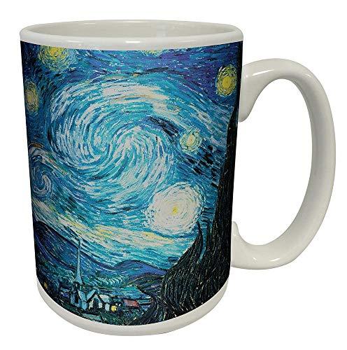 Vincent Van Gogh Starry Night Fine Art Ceramic Gift Coffee (Tea, Cocoa) Mug (20 oz C Handlle BIG ART MUG) ()