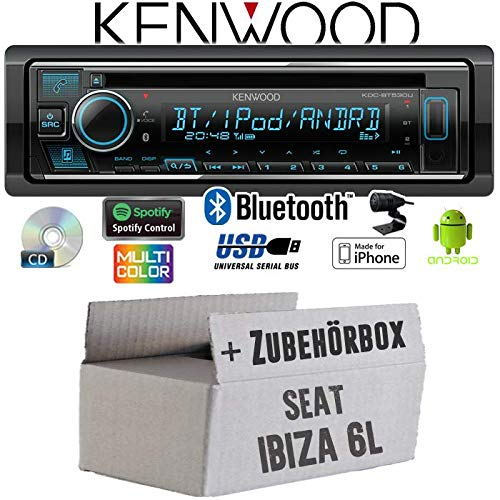 Autoradio Radio Kenwood KDC-BT530U Spotify iPhone Einbauset Seat Ibiza 6L CD//MP3//USB Bluetooth Android Einbauzubeh/ör
