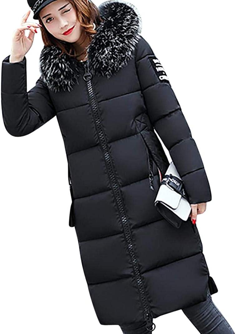 Xinantime Womens Ladies Fur Lining Coat Winter Warm Thick Long Jacket Hooded Overcoat