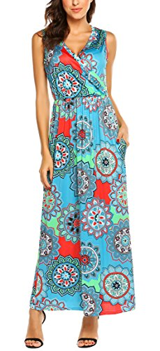 SimpleFun Womens V Neck Sleeveless Maxi Dress Summer Casual High Waisted Dress Bohemian Printed Long Dress with Pockets(Light Blue,S)