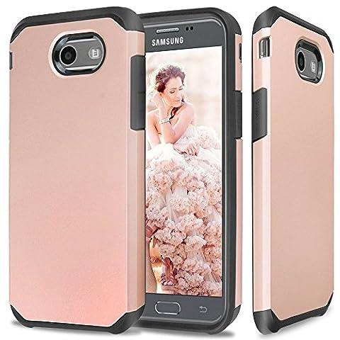 Galaxy J7 V Case, Galaxy J7 Sky Pro Case, Galaxy J7 Perx Case, Galaxy Halo Case, GPROVA Dual Layer Fusion Hybrid Silicone Cover Combo Pack Case for J7 2017 (Black/Rose (Galaxy Speck 5s Case)