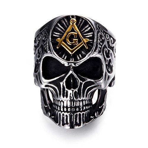 (Men's Masonic Skull Rings Stainless Steel Freemason Band)