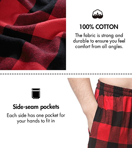 9c2e94da8f LAPASA Men s 100% Cotton Woven Flannel Pajama Lounge Sleep Pants Plaid PJ  Bottoms w Pockets
