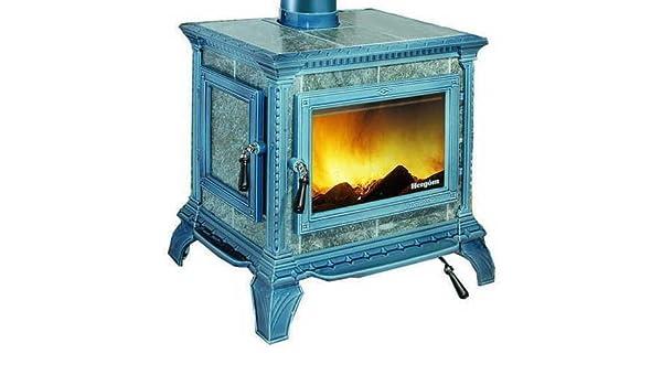 Hergom M288660 - Estufa de leña heritage esmaltado negro azulado: Amazon.es: Hogar