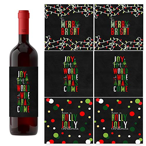 Jolly Fun Christmas Wine Bottle Labels - Set of 6 Festive Holiday Party Gift Supplies