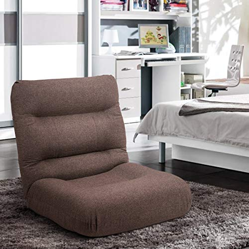 Merax Fabric Folding Sofa Chair Floor Chaise Lounge Gaming Chair (Brown)