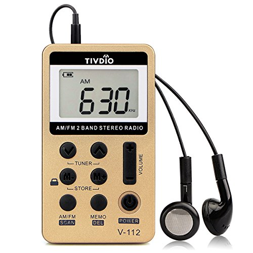 TIVDIO V-112 Portable AM FM Stereo Radio with Earphones Pocket Mini Digital Tuning Rechargeable Battery LCD Display for Walk(Gold)