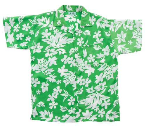 [On Shore Men's Tropical Hawaiian White Floral Print Aloha Shirt, Green XX-Large] (Master Roshi Costume)