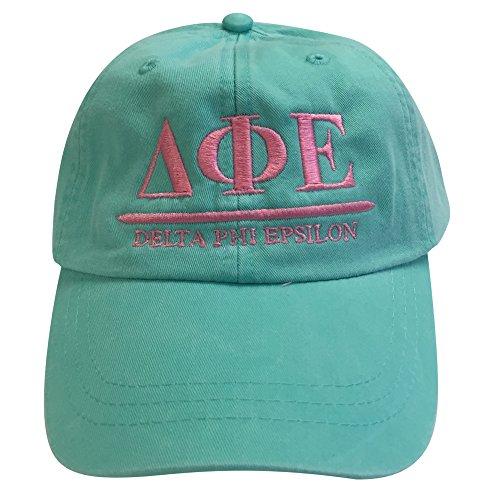 Fraternity Baseball (Delta Phi Epsilon (B) Sea Foam Hat with Coral Thread Sorority Baseball Hat Cap Greek Letter Sports Cap Adjustable Strap)