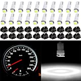 cciyu 20 Pack Xenon White Car T5 Wedge 17 37 70 5050 1SMD LED Instrument Panel Cluster Plug Lamp Dash Light Bulb Bulbs w/Twist Sockets