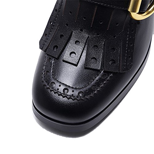 Ladies Genuine Square Chunky Tassels Pump Elegant Black Leather Handmade Women's Nine Seven Heel Toe Shoes HqRwPP