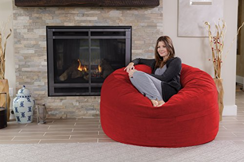 Chill Sack Bean Bag Chair: Giant 5' Memory Foam Furniture Bean Bag - Big Sofa with Soft Micro Fiber Cover - Red Pebble