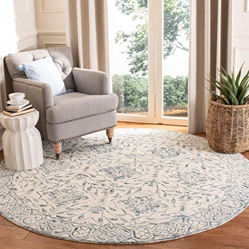 Safavieh DDY901M-7R Dip Dye Collection DDY901M Handmade Blue and Ivory Premium Wool Area 7' Round Rug