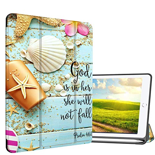 "AIRWEE Case for iPad Pro 9.7"" 2017/iPad Air 2018 9.7"" Tablet Case Ultra Slim Lightweight Stand Case Corner Protection for iPad 5th / 6th Gen,Seashell Psalm 46:5"