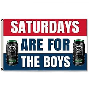 Flylong los sábados son para los niños Jack Daniels Bud banderines de cerveza cueva del hombre 3X 5feet
