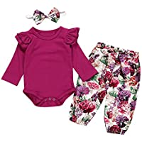 Baby Girl Floral Romper Outfits Long Sleeve Bodysuit + Pants+Headband Autumn Clothes Set