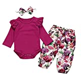 0-2Years,Zimuuy Infant Baby Girls Ruched Ruffle Romper Jumpsuit Floral Print Pants Headband Outfits Set (6-12 Months, Hot Pink)