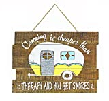 Young's Camping is Cheaper Than Therapy Rustic Wooden Wall Sign Review