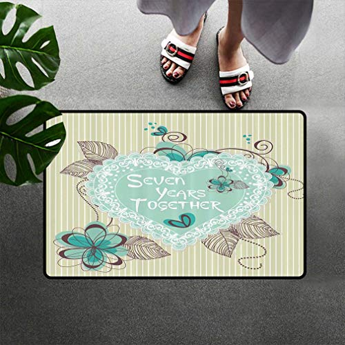 Heart Decor Doormats, Seven Years Together 7th Birthday for Little Boy for Girl 7th Anniversay Ideas Mud Trapper Floor Rugs Quick Dry Mat with Non-Slip Back, 23'' W x 35''L Turquoise Olive Mint Green