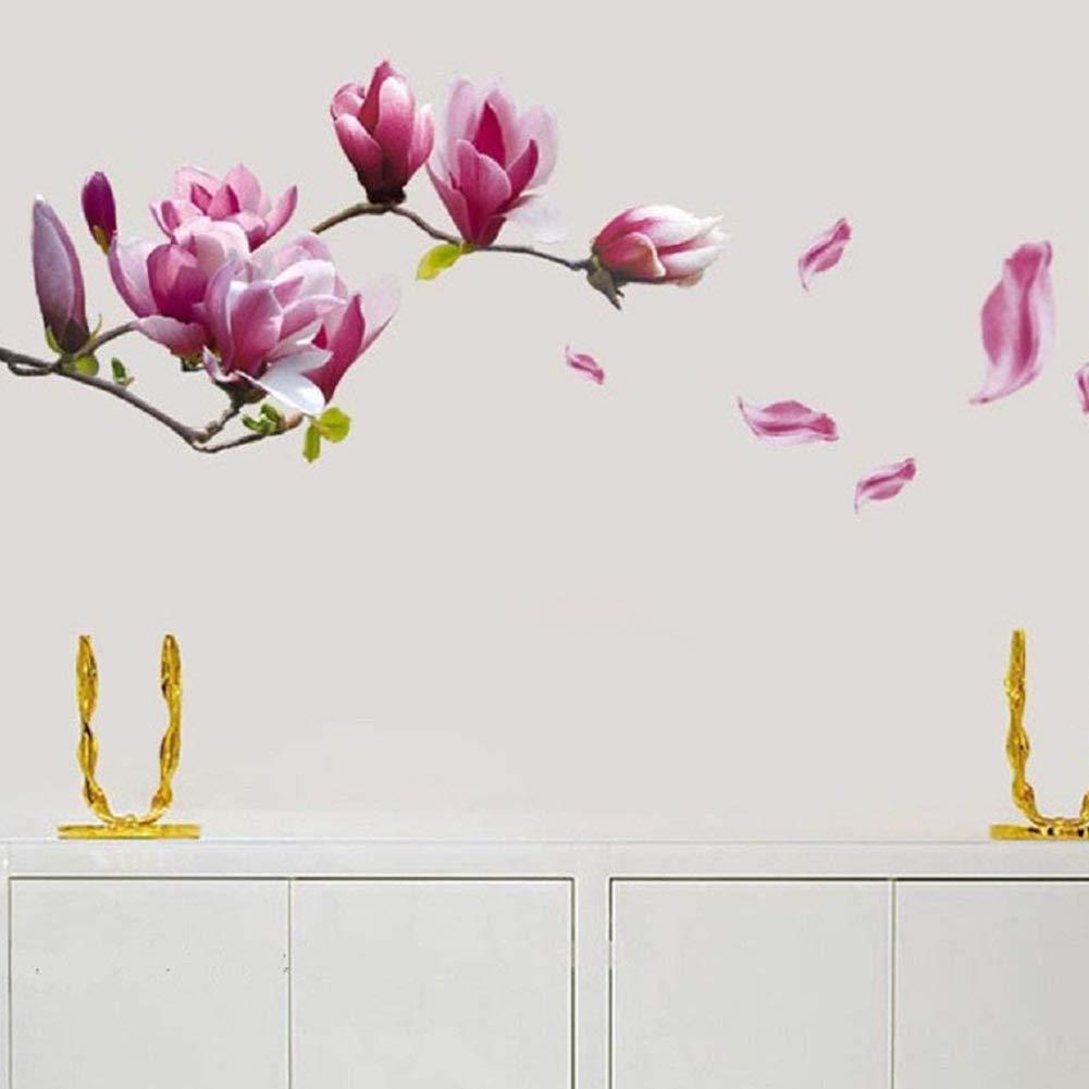 NiceButy Sch/öne Blumen Blume Wandaufkleber romantische Magnolie Kunstaufkleber DIY Wand Applikation Hause Wohnzimmer Schlafzimmerdekoration DIY Tools