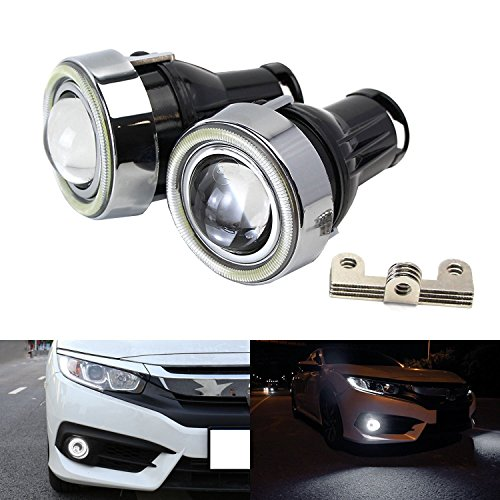 iJDMTOY (2) OEM Replace Xenon White LED Halo Angel Eyes Projector Lens Retrofit Fog Lamps For 2016-up Honda Civic Sedan/Coupe