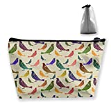 O-X_X-O Women Ladies Girls Makeup Case Clutch Bag Travel Pouch Holder Large Capacity Carry On Bag Luggage Pouch Toiletry Bag - Rainbow Parakeets Budgies