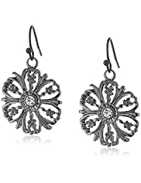 1928 Jewelry Black-Tone Crystal Accent Flower Drop Earrings