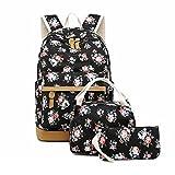 Girls Backpack For School Teens Backpack Sets Canvas College Bookbag Student School Bags Floral