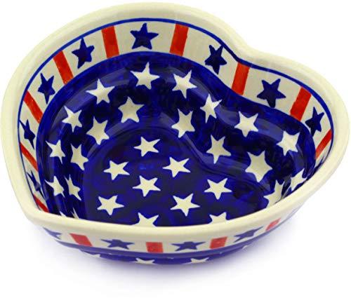 Shaped Polish Pottery Heart Bowls - Polish Pottery 6¼-inch Heart Shaped Bowl (Americana Theme) + Certificate of Authenticity