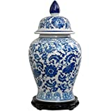 "Oriental Furniture 18"" Floral Blue & White Porcelain Temple Jar"