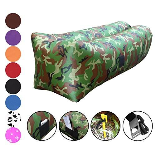Giants Sofa - Vitchelo Inflatable Couch Giant Bean Bag Chairs Kids Adults, Blow up Sofa, Inflatable Lounge Air Chair Perfect Indoor Outdoor Hangout, Camping, Picnic & Music Festivals (Camo)