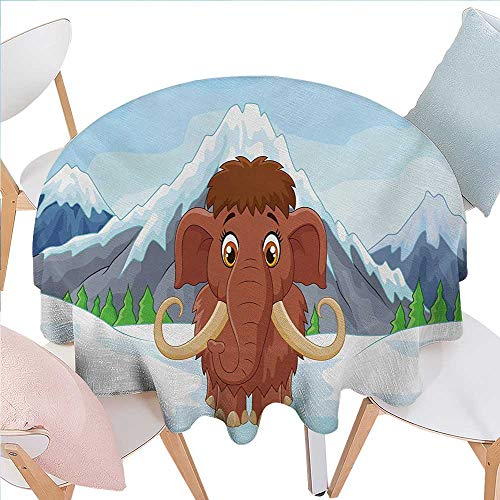 Cartoon Dinning Round Tabletop DecorBaby Mammoth in Ice Snowy Mountain Winter Cheerful Animal Prehistoric Design Round Table Cover for Kitchen D36 Brown and Blue