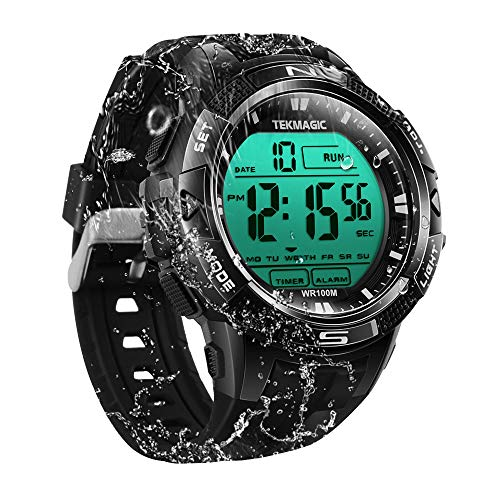 TEKMAGIC Digital Watch 100m Underwater Waterproof for Swimming Diving with Stopwatch, 12/24 Hour Format, Dual Time Zone, Alarm Functions (Shock Men For Watches Proof)