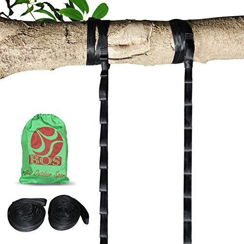 BOS Hammock Straps Set- Pack of 2 Hammock Tree Straps Easy Setup for All Hammocks. Extra Strong, Lightweight & Tree Friendly. 2000 LBS Heavy Duty Total, 9 ft Long & 12 Adjustable Loops Per Strap