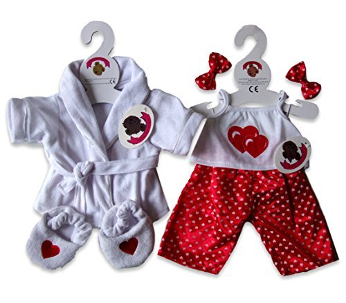 Red Hearts PJ's & Slippers Teddy Bear Clothes fit Build a Bear factory Teddies by Build your Bears Wardrobe