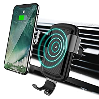 LICHEERS Wireless Car Charger Phone Mount, Gravity Car Wireless Charger Phone Holder Compatible with iPhone X/8/8 Plus Samsung S8/S8 Plus/S7/S7 (Black)