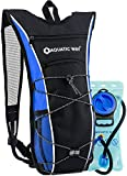 Aquatic Way Hydration Backpack with 2 Liter Water Bladder (Blue) - Best Pack for Hiking, Biking, Running, Climbing, Marathon Pack