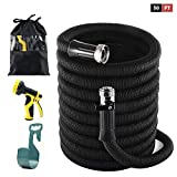 Woods Home Goods 50 ft Garden Hose Set, Latex Core, 3/4' Nickel Plated Solid Brass Fittings, Durable and Lightweight Expandable Water Hose, 9-Mode High Pressure Spray Nozzle, Storage Bag, Hook (50FT)