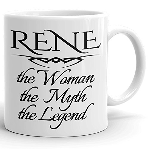 Best Personalized Womens Gift! Rene The Woman the Myth the Legend - Coffee Mug Cup for Mom Girlfriend Wife Grandma Sister in the Morning or the Office
