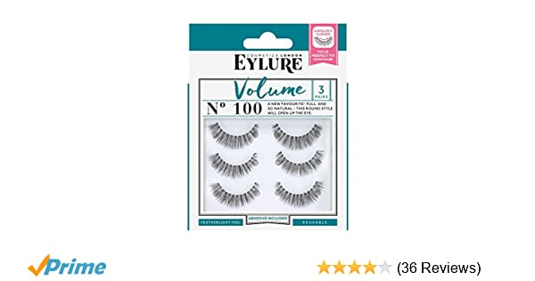 df9f15062a9 Amazon.com : Eylure Volume False Eyelashes Multipack, Style No. 100,  Reusable, Adhesive Included, 3 Count : Beauty
