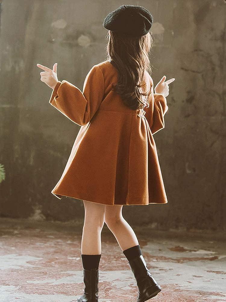 OCHENTA Girls High Waist Bowknot Wool Overcoat Winter Dress Coat