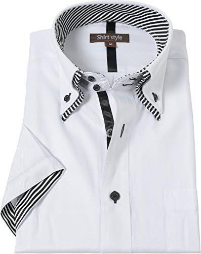 シャツスタイル(shirt style)半袖 ワイシャツ 白柄 サイズ/S M L LL 3L /ysh-5002